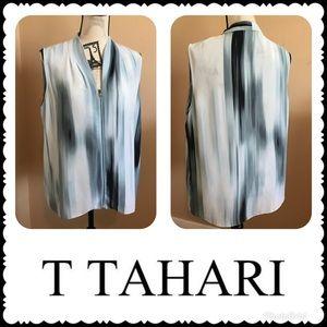 T Tahari Zip Carly Watercolor Blouse